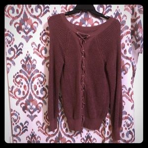 TCEC Boutique Lace up sweater